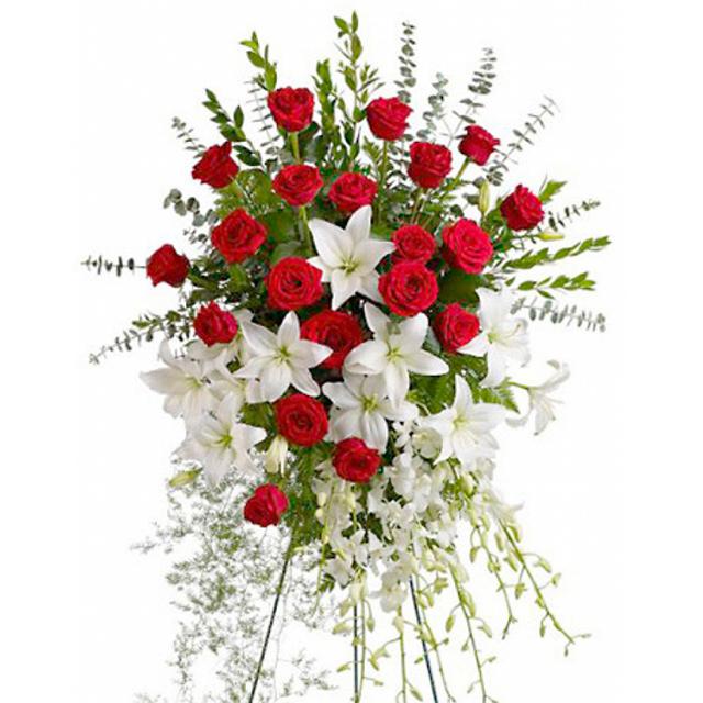 Lágrima Arreglo Floral De Rosas Rojas Y Lirios Blancos