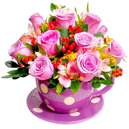 Arreglo De 12 Rosas Lilas Con Astromelias